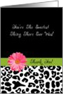 Thank You Trendy Leopard Print With Pink Flower card