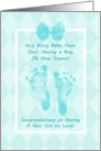 Baby Boy Congratulations Blue Baby Footprints With Printed Bow card