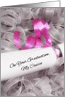 Girly Graduation Congratulations For Cousin With Pink Ribbon card