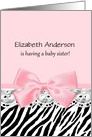 Chic Pink and Black Zebra Print Baby Shower Invitation For Big Sister card