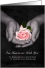 Remembrance Anniversary Loss of Boyfriend Pink Rose In Hands card