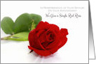 Anniversary Remembrance of Spouse With Single Red Rose card