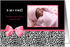 Trendy Pink And Black Photo Birth Announcements With Pink Ribbon card