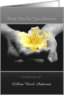 Thank you For Sympathy Condolence Donation Yellow Flower In Hands card