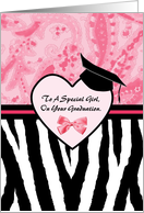 Girly Graduation Congratulations For A Special Girl Zebra Print card