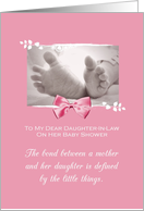 Daughter In Law Baby Shower Congratulations Girl Baby Feet Printed Bow card