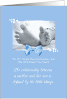 Daughter In Law Baby Shower Congratulations Boy Baby Feet Printed Bow card