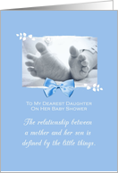 Daughter Baby Shower Congratulations Boy Baby Feet Printed Bow card