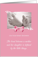 Newborn Baby Shower Congratulations Girl Baby Feet Printed Bow card