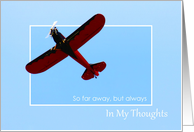 Thinking of You So Far Away - Red Flyer Plane card