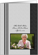 Personalized Photo Memorial Invitation - Elegant Black With Stripes card