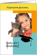 Trendy Photo Kindergarten Graduation Announcement Orange and Blue card