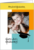 Trendy Photo Preschool Graduation Announcement Orange and Blue card
