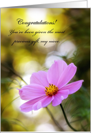 Congratulations On Custody, Niece - Pink Cosmos At Twilight card