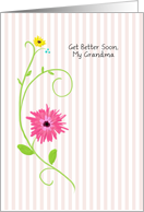Get Better Soon, My Grandma, Pink Gerbera Daisy With Stripes card