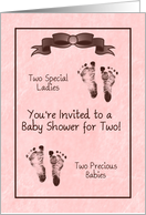 Double Baby Shower Invitation, Two Precious Sets Of Baby Foot Prints card