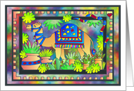 Colorful Camel With Mulit-colored Plants and Borders card