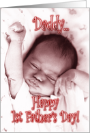 First Father's Day from Daughter - Stretching Baby Girl card