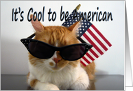 Happy Labor Day - Cool Cat with Flag and Sunglasses card