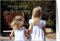 Sisters Hand in Hand - Happy Birthday card