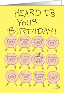 Birthday, Squealed, Stack of Pigs card