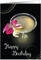 Happy Birthday Cocktail with a Twist of Lemon. card