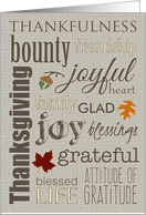 Thanksgiving Word Collage with Leaves, Acorns and Burlap card