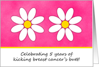 5 Year Kicking Breast Cancer's Butt Celebration Invitation card