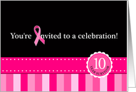 10 Year Cancer-Free Celebration Pink Ribbon Party Invitation card