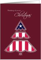 Thank you for Your Service at Christmas, Patriotic Tree card