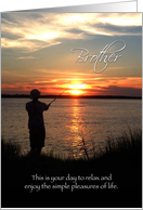 Father's Day Brother, Sunset Fishing Silhouette card
