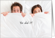 Congratulations to Parents-to-Be, Humorous between the sheets card