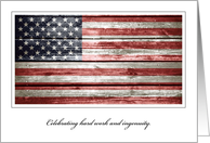 Labor Day, Hard Hard Work & Ingenuity with Rustic American Flag card