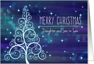 Merry Christmas Daughter & Son-in-Law, Swirled Tree & Bokeh Lights card