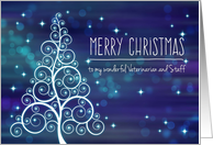 Merry Christmas Veterinarian & Staff, Swirled Tree & Bokeh Lights card