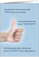 Happy Birthday, Social Media Thumbs Up, Humorous card