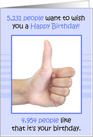 Happy Birthday, Thumbs Up, Humorous card