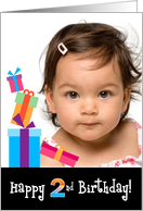 Happy 2nd Birthday, Customizable Photo Card with Stacked Gifts card
