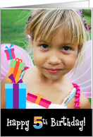 Happy 5th Birthday, Customizable Photo Card with Stacked Gifts card