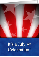 July 4th Celebration Invitation, American Flag, Card