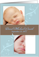 Elegant Baby Boy Customizable Photo and Type Birth Announcement card