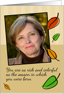Autumn Leaves, Birthday Customizable Photo Card