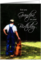Grandpa Birthday, Country Man with Dog Card