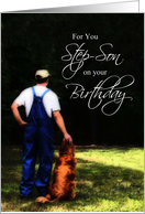 Step Son Birthday, Country Man with Dog Card