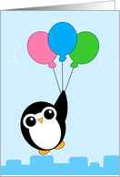 Cute Penguin with Balloons Birthday card