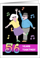 Happy 56th Anniversary - Old Couple Dancing to Swing Music card