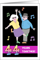 Happy 44th Anniversary - Old Couple Dancing to Swing Music card