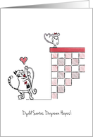 Dydd Santes Dwynwen Hapus! - St. Dwynwen's Day Card - Cat and mouse card
