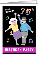 Surprise 75th Birthday Party Invitation - Two old people dancing card