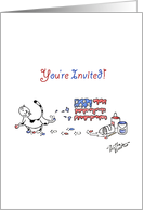 Fluffy the Cat celebrates July 4th - Party invitation card